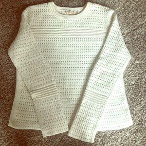 Tory Burch White crewneck cotton sweater
